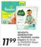 Seventh Generation or Pampers Jumbo Diapers 16-44 Pk or Pampers Wipes 336-432 Pk