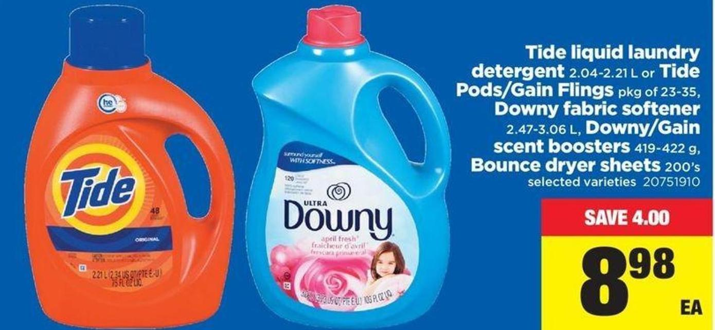Tide Liquid Laundry Detergent - 2.04-2.21 L Or Tide Pods/gain Flings - Pkg Of 23-35 - Downy Fabric Softener - 2.47-3.06 L - Downy/gain Scent Boosters - 419-422 G - Bounce Dryer Sheets - 200's