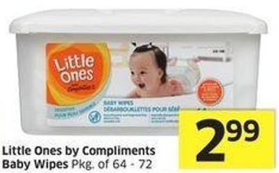 Little Ones By Compliments Baby Wipes Pkg of 64 - 72