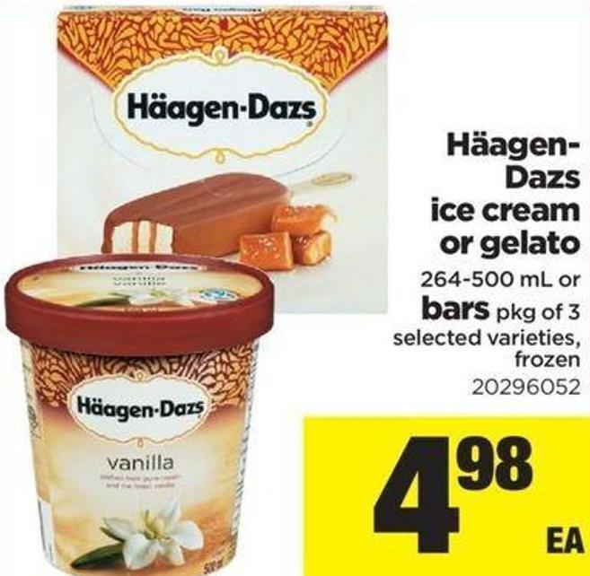 Häagen- Dazs Ice Cream Or Gelato - 264-500 Ml Or Bars - Pkg Of 3