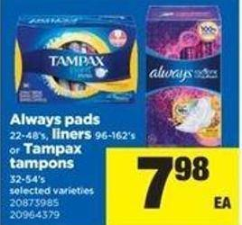Always Pads - 22-48's - Liners - 96-162's Or Tampax Tampons - 32-54's