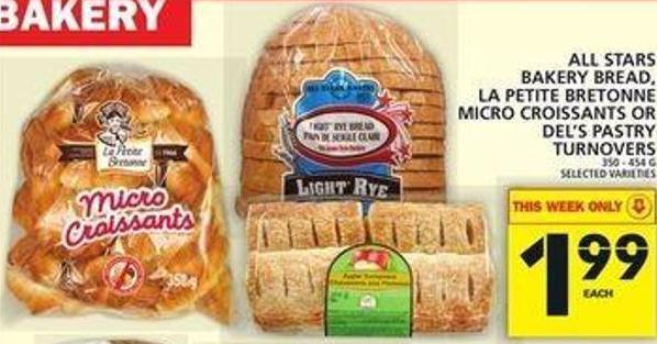 All Stars Bakery Bread - La Petite Bretonne Micro Croissants Or Del's Pastry Turnovers