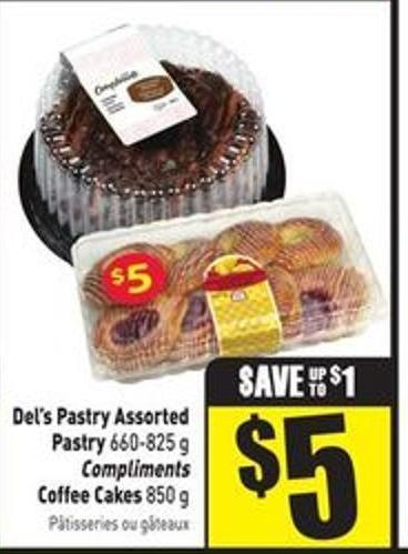 Del's Pastry Assorted Pastry 660-825 g Compliments Coffee Cakes 850 g