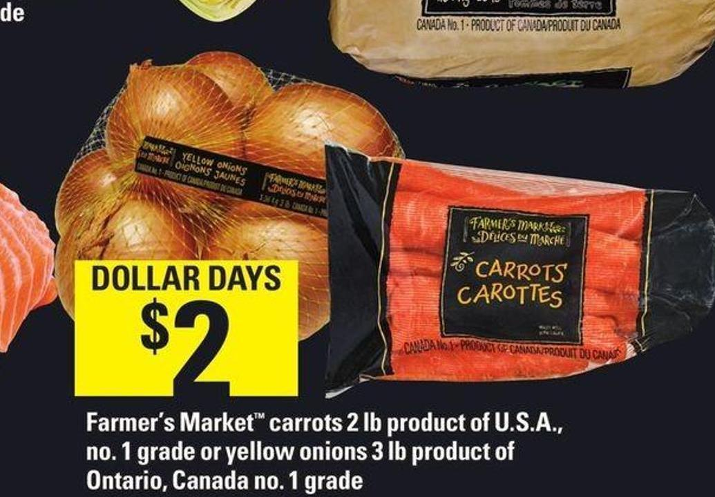 Farmer's Market Carrots 2 Lb - Or Yellow Onions 3 Lb