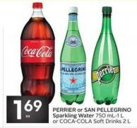 Perrier or San Pellegrino Sparkling Water 750 Ml-1 L or Coca-cola Soft Drinks 2 L