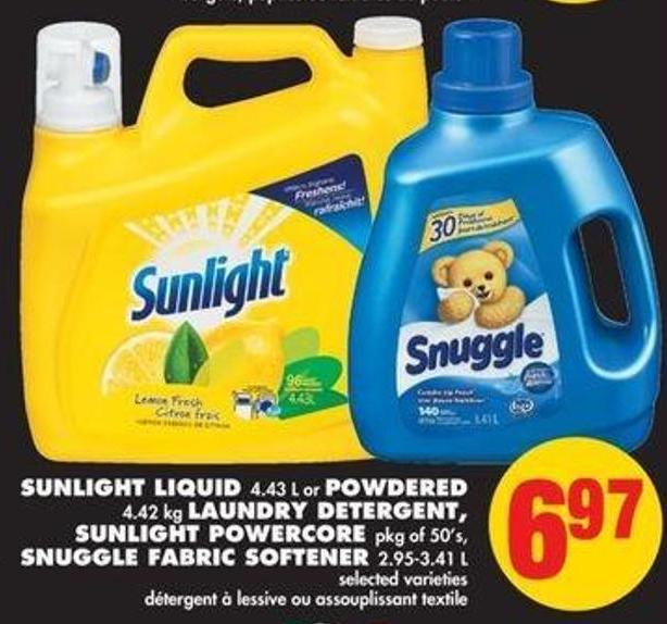 Sunlight Liquid - 4.43 L or Powdered - 4.42 Kg Laundry Detergent - Sunlight Powercore - Pkg of 50's - Snuggle Fabric Softener - 2.95-3.41 L
