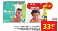 Pampers Baby-dry - Cruisers or Swaddlers Econo Diapers