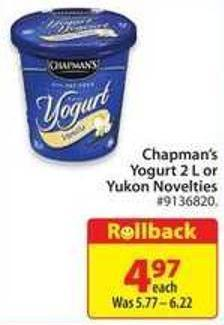 Chapman's Yogurt 2 L or Yukon Novelties