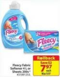 Fleecy Fabric Softener 4 L or Sheets 200s