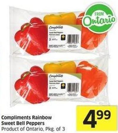 Compliments Rainbow Sweet Bell Peppers Product of Ontario - Pkg of 3
