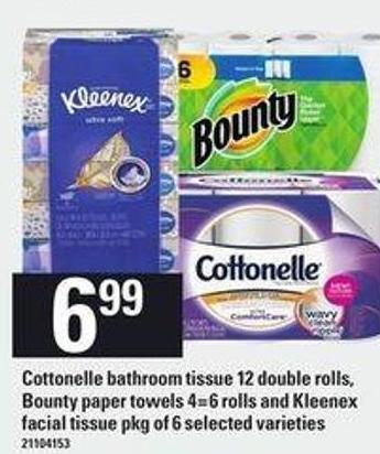 Cottonelle Bathroom Tissue - 12 Double Rolls - Bounty Paper Towels - 4=6 Rolls And Kleenex Facial Tissue - Pkg Of 6