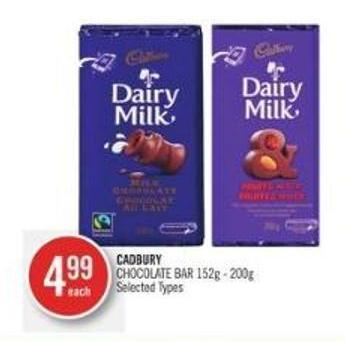 Cadbury Chocolate Bar 152g - 200g