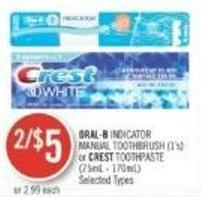 Oral-b Indicator Manual Toothbrush (1's) or Crest Toothpaste (75ml - 170ml)