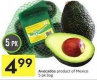 Avocados Product of Mexico 5 Pk Bag