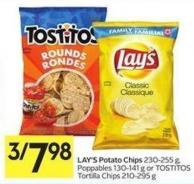Lay's Potato Chips 230-255 g - Poppables 130-141 g or Tostitos Tortilla Chips 210-295 g