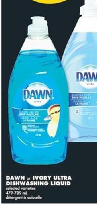 Dawn or Ivory Ultra Dishwashing Liquid - 479-709 mL