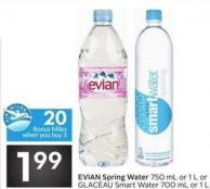 Evian Spring Water 750 mL or 1 L or Glac'au Smart Water 700 mL or 1 L - 20 Air Miles Bonus Miles