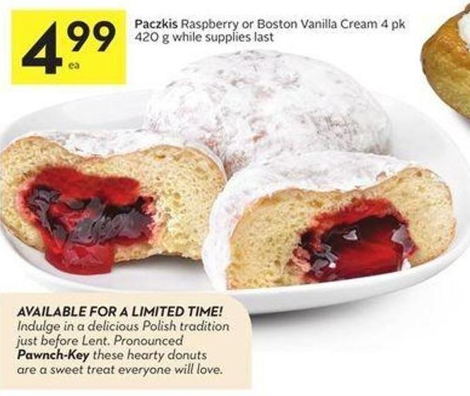 Paczkis Raspberry or Boston Vanilla Cream 4 Pk 420 g While Supplies Last