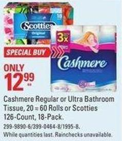 Cashmere Regular or Ultra Bathroom Tissue - 20 = 60 Rolls or Scotties 126-count - 18-pack