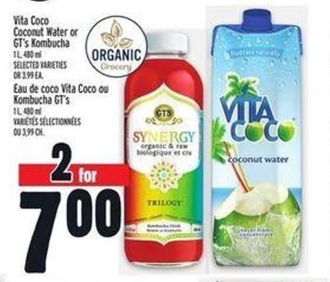 Vita Coco Coconut Water Or Gt's Kombucha