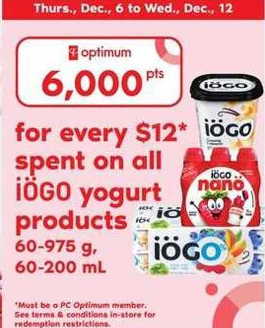 Iögo Yogurt Products - 60-975 g - 60-200 Ml