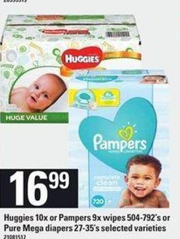 Huggies - 10x Or Pampers - 9x Wipes 504-792's Or Pure Mega Diapers - 27-35's