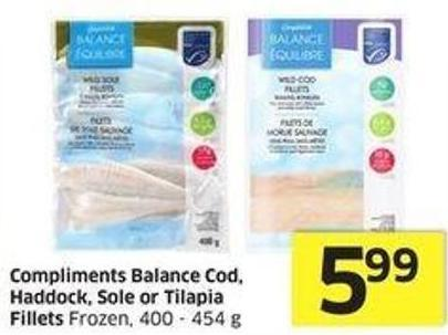 Compliments Balance Cod - Haddock - Sole or Tilapia Fillets Frozen - 400 - 454 g