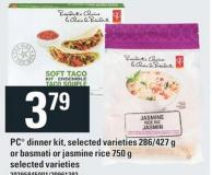 PC Dinner Kit - 286/427 G Or Basmati Or Jasmine Rice 750 G