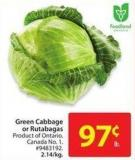 Green Cabbage or Rutabagas