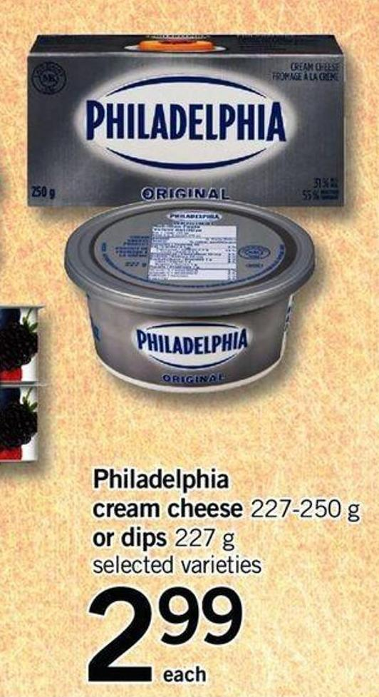 Philadelphia Cream Cheese 227 - 250 g or Dips 227 g