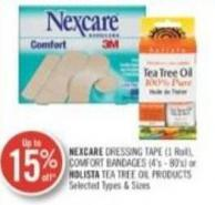 Nexcare Dressing Tapes (1 Roll) - Comfort Bandage (4's-80's) or Holista Tea Tree Oil Products