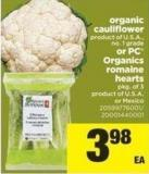 Organic Cauliflower Or PC Organics Romaine Hearts - Pkg Of 3