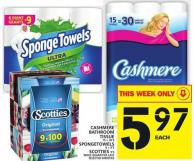 Cashmere Bathroom Tissue 15 = 30's Or Spongetowels 6 = 9's Or Scotties 9's
