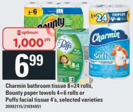 Charmin Bathroom Tissue 8=24 Rolls - Bounty Paper Towels 4=6 Rolls Or Puffs Facial Tissue 4's