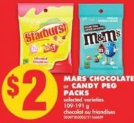 Mars Chocolate or Candy Peg Packs - 109-191 g