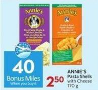 Annie's Pasta Shells With Cheese 170 g  40 Air Miles Bonus Miles