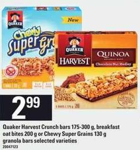 Quaker Harvest Crunch Bars 175-300 G - Breakfast Oat Bites 200 G Or Chewy Super Grains 130 G Granola Bars