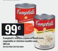 Campbell's Tomato - Cream Of Mushroom - Vegetable Or Chicken Noodle Soup 284 Ml