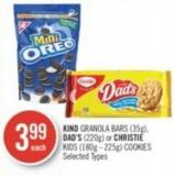 Kind Granola Bars (35g) - Dad's (220g) or Christie Kids (180g - 225g) Cookies