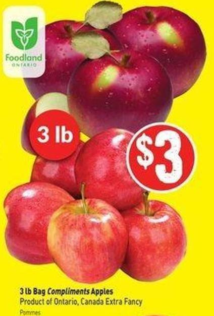 3 Lb Bag Compliments Apples Product of Ontario - Canada Extra Fancy