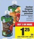 Gerber Organic Baby Food Pouches - 128 mL