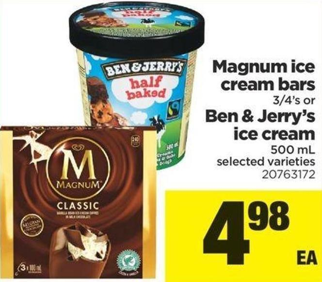 Magnum Ice Cream Bars 3/4's Or Ben & Jerry's Ice Cream 500 Ml