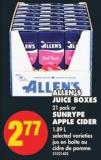 Allen's Juice Boxes - 21 Pack or Sunrype Apple Cider - 1.89 L