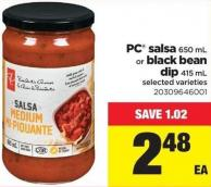 PC Salsa 650 Ml Or Black Bean Dip - 415 mL