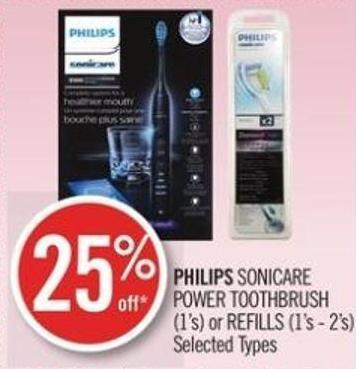Philips Sonicare Power Toothbrush (1's) or Refills (1's - 2's)