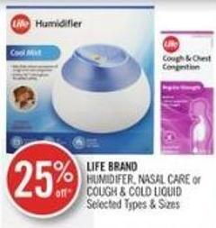 Life Brand Humidifer - Nasal Care or Cough & Cold Liquid