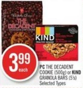 PC The Decadent Cookie (500g) or Kind Granola Bars (5's)
