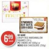 No Name Crispy Rice Marshmallow Squares (24's) - PC S'mores Kit (600g) or Merci Box Chocoloate (250g)