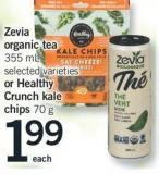Zevia Organic Tea - 355 Ml Selected Varieties Or Healthy Crunch Kale Chips - 70 G