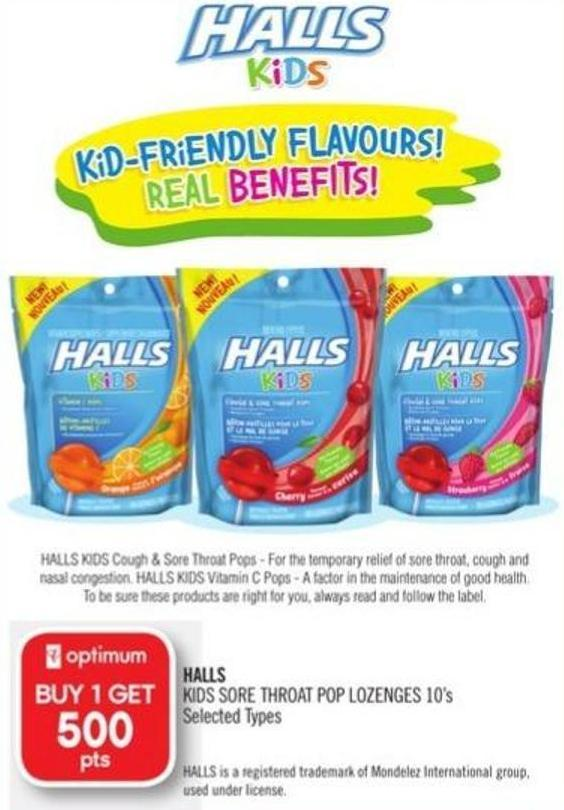 Halls Kids Sore Throat Pop Lozenges 10's